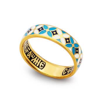 Кольцо с молитвой Ангелу Хранителю серебряное с эмалью белого и сине-голубого цвета KLSPE0901