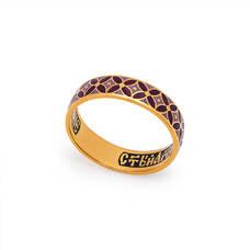 Кольцо с молитвой Ангелу Хранителю серебряное с эмалью белого и голубова цвета KLSPE0905