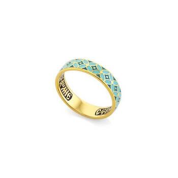 Кольцо с молитвой Ангелу Хранителю серебряное с эмалью светло и темно-бирюзового цвета KLSPE0907