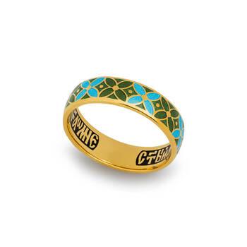 Кольцо с молитвой Ангелу Хранителю серебряное с эмалью голубого и зеленого цвета KLSPE0908