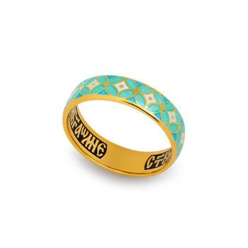 Кольцо с молитвой Ангелу Хранителю серебряное с эмалью белого и сине-бирюзового цвета KLSPE0915