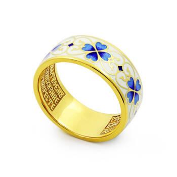 """Кольцо православное серебряное с эмалью """"Молитва за Родных и ближних"""" бело-синего цвета KLSPE1003"""