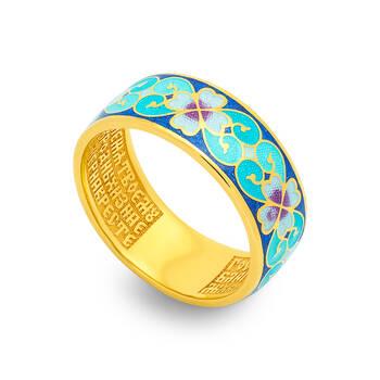 """Кольцо православное серебряное """"Молитва за Родных и ближних"""" с эмалью сине-бирюзового и бело-лилового цвета KLSPE1009"""