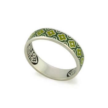 """Кольцо родированное """"Спаси и сохрани"""" с эмалью (серебряное) KLSRE0202"""