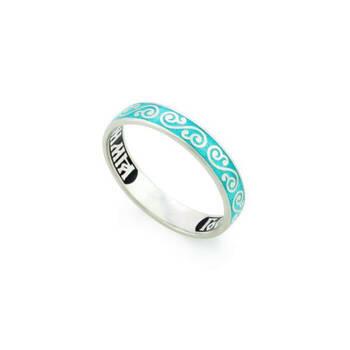 """Кольцо серебряное """"Спаси и сохрани"""" с эмалью (родированное) KLSRE0501"""