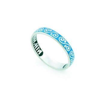 Кольцо серебряное «Спаси и сохрани» с эмалью (родированное) KLSRE0502