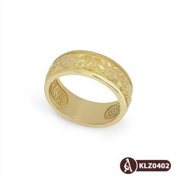 """Золотое кольцо """"Спаси и сохрани"""" (венчальное) женское KLZ0402"""