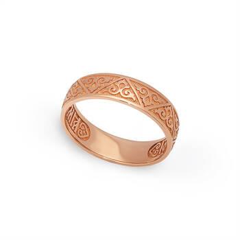 Золотое кольцо «Спаси и сохрани» венчальное KLZ0601