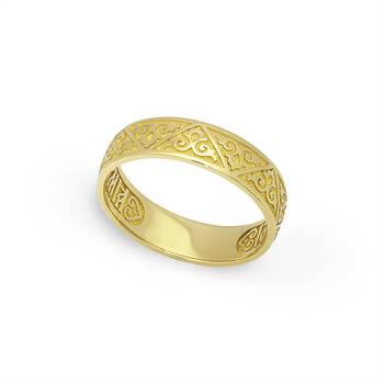 Золотое кольцо «Спаси и сохрани» венчальное KLZ0602