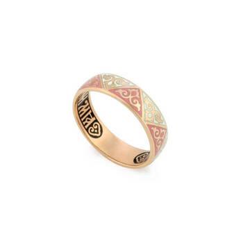 """Золотое кольцо """"Спаси и сохрани"""" венчальное с эмалью женское KLZE0101"""