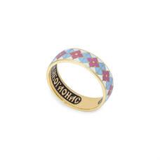 """Золотое кольцо с эмалью - молитва """"святому Серафиму Саровскому"""" KLZE0301"""