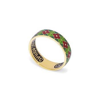 Кольцо золотое с эмалью - молитва «Серафиму Саровскому» KLZE0302