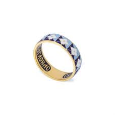 """Золотое кольцо с эмалью - молитва """"святому Серафиму Саровскому"""" KLZE0303"""