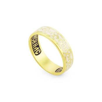 Православное обручальное кольцо с эмалью - молитва к Богородице KLZE0401