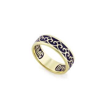 Кольцо венчальное золотое с эмалью - молитва к Богородице KLZE0402