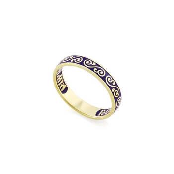 Золотое кольцо «Спаси и сохрани» с эмалью KLZE0501