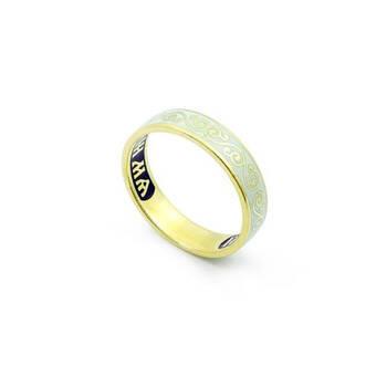 Золотое кольцо Спаси и сохрани венчальное с белой эмалью женское KLZE0502