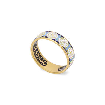Кольцо венчальное (золотое с эмалью) - молитва к Николаю Чудотворцу KLZE0801