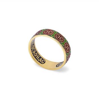 Кольцо золотое с эмалью - молитва к Николаю Чудотворцу KLZE0802