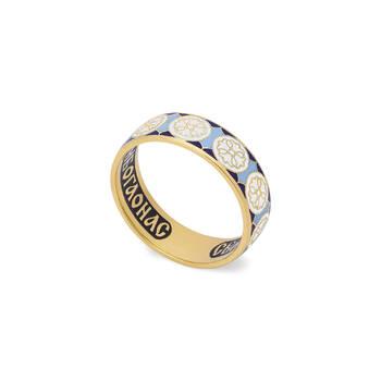 Венчальное кольцо (золотое с эмалью) - молитва к Николаю Чудотворцу KLZE0803