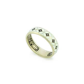 Православное обручальное кольцо из белого золота с эмалью молитва к Ангелу Хранителю KLZE0901