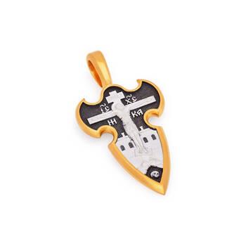 Нательный мужской крестик «Распятие Господа нашего Иисуса Христа, вмч. Георгий Победоносец» (арт. KRSP04)