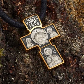 Крест мужской серебряный «Нерукотворный образ Господа нашего Иисуса Христа, Архангел Михаил» (арт. KRSP07)