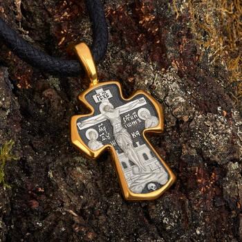 Нательный крест мужской из серебра с позолотой: Распятие Господа нашего Иисуса Христа, вмч. Димитрий Солунский, Мироточивый KRSP09