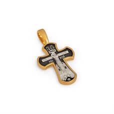 Крест нательный - Распятие Господа нашего Иисуса Христа, прп. Сергий Радонежский KRSP14