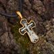 Крест нательный из серебра с позолотой мужской: Распятие Господа нашего Иисуса Христа, прп. Сергий Радонежский KRSP14