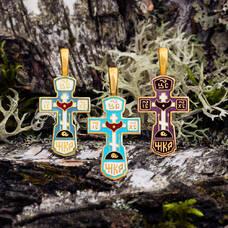 Крест нательный с эмалью - Голгофский KRSPE01