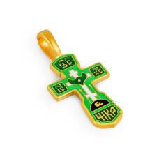Голгофский крест нательный (зеленая эмаль) KRSPE0102