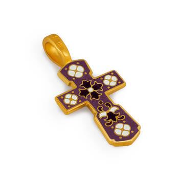 Православный серебряный крестик Голгофский (розовато-лиловая эмаль) KRSPE0103