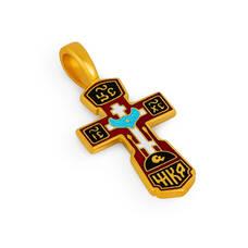 Крест Голгофа серебряный (красно-черная эмаль) KRSPE0104