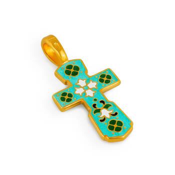 Крест без распятия (зелено-голубая эмаль) Голгофский KRSPE0106