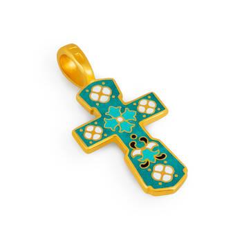 Крест серебряный с бирюзовой эмалью - Голгофский KRSPE0107