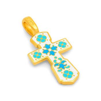 Крестик серебро с позолотой «Голгофский» бело-голубая эмаль (арт. KRSPE0108)