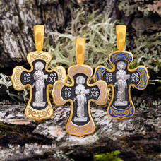 Серебряный крестик с эмалью - Спас Вседержитель (Пантократор), Покров Пресвятой Богородицы KRSPE02