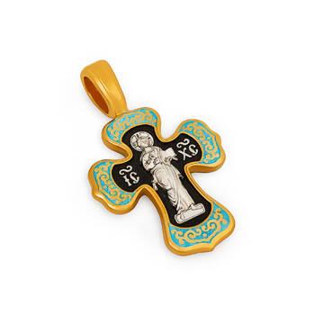 Серебряный крестик (голубая эмаль) - Спас Вседержитель (Пантократор), Покров Пресвятой Богородицы KRSPE0201