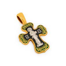Серебряный крестик с эмалью - Спас Вседержитель (Пантократор), Покров Пресвятой Богородицы KRSPE0202