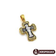 Серебряный крестик с эмалью - Спас Вседержитель (Пантократор), Покров Пресвятой Богородицы KRSPE0203