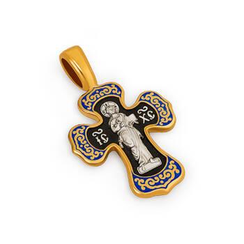 Крестик нательный (синяя эмаль) - Спас Вседержитель (Пантократор), Покров Пресвятой Богородицы KRSPE0204