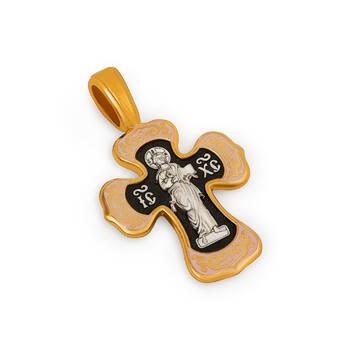 Нательный женский крест (розовая эмал) - Спас Вседержитель (Пантократор), Покров Пресвятой Богородицы KRSPE0205