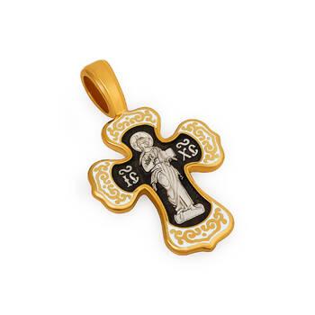 Серебряный крестик с эмалью - Спас Вседержитель (Пантократор), Покров Пресвятой Богородицы KRSPE0206