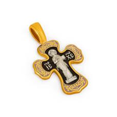 Крест нательный с эмалью - Спас Вседержитель (Пантократор), Покров Пресвятой Богородицы KRSPE0207