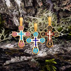 Крест с эмалью серебряный - Голгофский KRSPE03