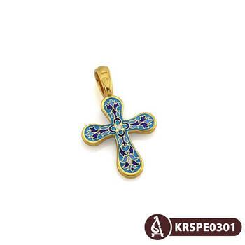Нательный крест с эмалью серебряный Голгофский KRSPE0301