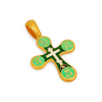Крестик православный Голгофский (зелено-салатовая эмаль) KRSPE0302