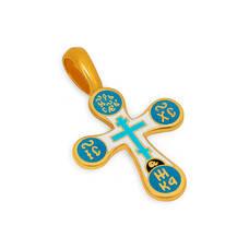 Серебряный крест Голгофский (бело-голубая эмаль) KRSPE0303