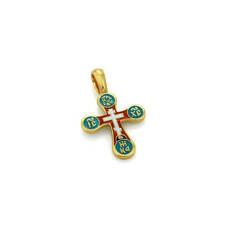 Крест серебряный (бирюзово-терракотовая эмаль) - Голгофский KRSPE0304